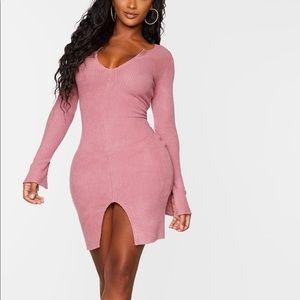 Shape Rose Brushed Rib Split Sleeve Bodycon Dress